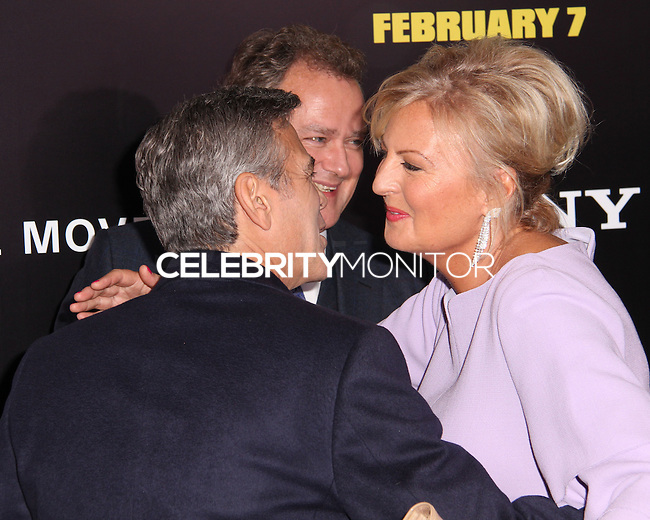 "NEW YORK, NY - FEBRUARY 04: George Clooney, Hugh Bonneville, Lulu Williams at the New York Premiere Of Columbia Pictures' ""The Monuments Men"" held at Ziegfeld Theater on February 4, 2014 in New York City, New York. (Photo by Jeffery Duran/Celebrity Monitor)"