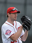 VIERA, FL-  FEBRUARY 26:  Max Scherzer of the Washington Nationals throws a bullpen during the Washington Nationals Spring Training at Space Coast Stadium in Viera, FL (Photo by Donald Miralle) *** Local Caption ***