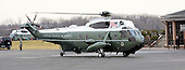 Marine 1, with United States President Barack Obama aboard, taxis for take-off from Leesburg Executive Airport in Leesburg, Virginia on Thursday, February 7, 2013.  Earlier the President spoke to the U.S. House Democratic Issues Conference at the Lansdowne Resort in Lansdowne, Virginia..Credit: Ron Sachs / Pool via CNP