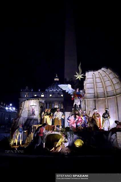 Nativity scene The Nativity Scene is a gift from the Territorial Abbey of Montevergine in Italy.in St. Peter square at the Vatican.8 december 2017