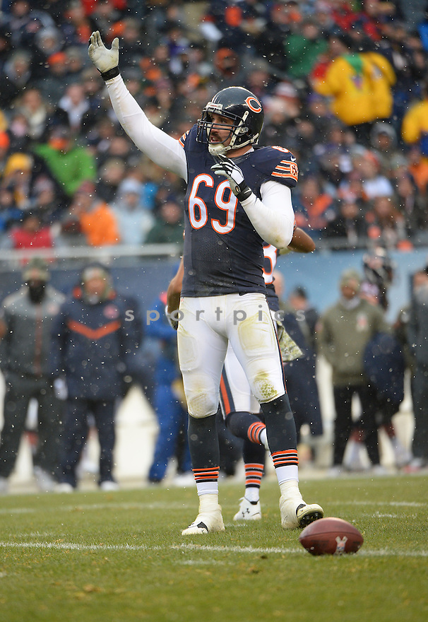 Chicago Bears Jared Allen (69) during a game against the Minnesota Vikings on November 16, 2014 at Soldier Field in Chicago, IL. The Bears beat the Vikings 21-13.