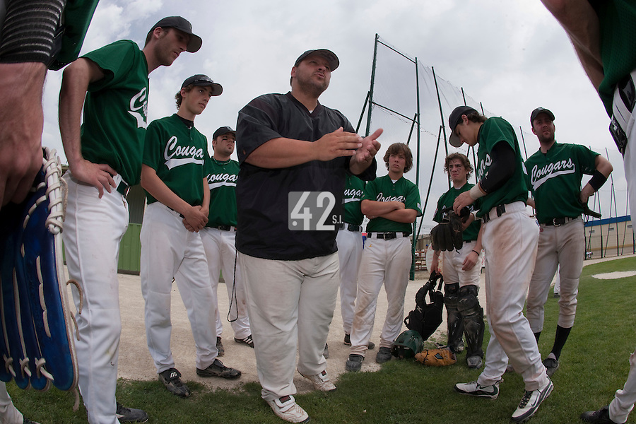 22 May 2009: Team Manager Gregory Fages talks to his team during the 2009 challenge de France, a tournament with the best French baseball teams - all eight elite league clubs - to determine a spot in the European Cup next year, at Montpellier, France.