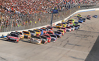 Sept. 21, 2008; Dover, DE, USA; Nascar Sprint Cup Series driver Carl Edwards leads the field during the Camping World RV 400 at Dover International Speedway. Mandatory Credit: Mark J. Rebilas-