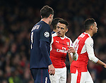 Arsenal's Alexis Sanchez argues with PSG's Thiago Motta during the Champions League group A match at the Emirates Stadium, London. Picture date November 23rd, 2016 Pic David Klein/Sportimage