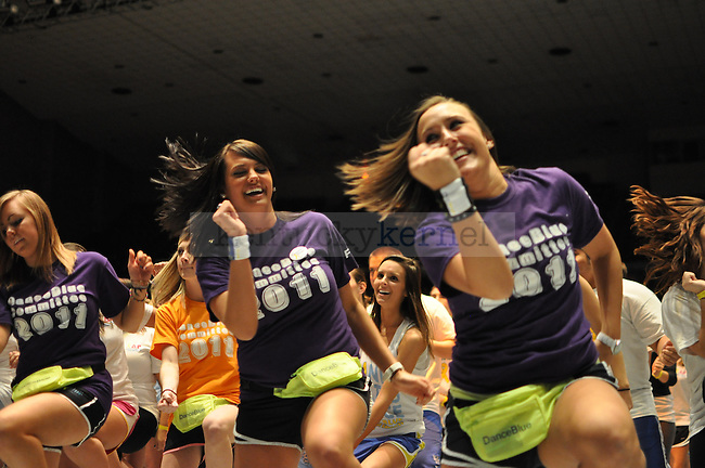 Students of University of Kentucky followed dance instructions from their Dance Blue leader.
