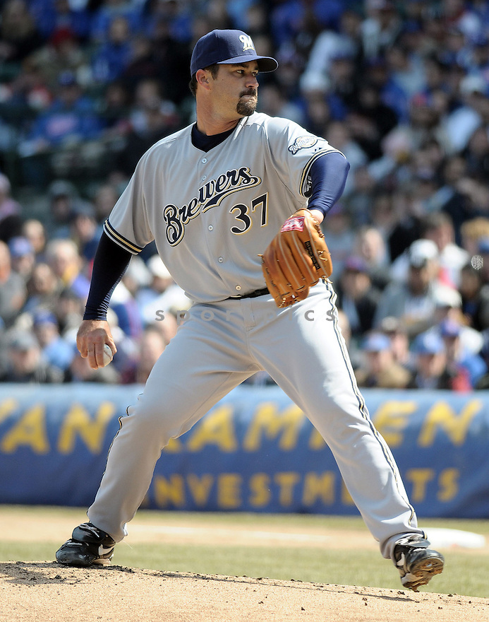 JEFF SUPPAN, of the Milwaukee Brewers, in action during the Brewers game against the Chicago Cubs  in Chicago, IL  on April 2, 2008...Cubs win 2-0...CHRIS BERNACHHI / SPORTPICS..