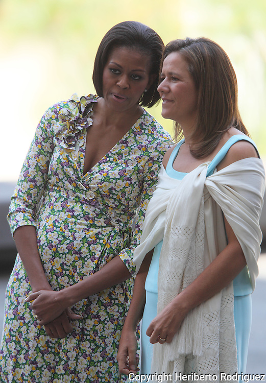 US President Barack Obama's wife Michelle Obama (L) talks with Mexico's President Felipe Calderon's wife Margarita Zavala, in the National Museum of Anthropology and History, in Mexico City, April 14, 2010. Ms. Obama is in a two day official visit and the first visit alone abroad USA. Photo by Heriberto Rodriguez