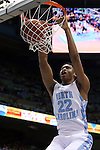 03 December 2014: North Carolina's Isaiah Hicks dunks the ball. The University of North Carolina Tar Heels played the University of Iowa Hawkeyes in an NCAA Division I Men's basketball game at the Dean E. Smith Center in Chapel Hill, North Carolina. Iowa won the game 60-55.
