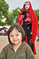 The Renaissance Fair is held each September at the historic museum of El Rancho de Las Golondrinas near Santa Fe and features dancers, kinghts, acrobats and many other performers all celebrating the culture and life style of the Medieval Middle Ages. Silent performer Serendipity blows bubbl;es for her fans and is a member of  Clan Tynker.