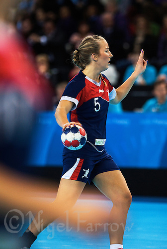 23 NOV 2011 - LONDON, GBR - Britain's Nina Heglund prepares to pass during the 2011 London Handball Cup match against Angola at The Handball Arena in the Olympic Park in Stratford, London .(PHOTO (C) NIGEL FARROW)