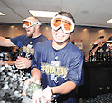 Norichika Aoki (Royals),<br /> OCTOBER 1, 2014 - MLB :<br /> Norichika Aoki of the Kansas City Royals celebrates with champagne after winning the American League Wild Card playoff baseball game against the Oakland Athletics at Kauffman Stadium in Kansas City, Missouri, United States. (Photo by AFLO)