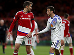 Christhian Stuani of Middlesbrough in action with Javi Manquillo of Sunderland during the English Premier League match at Riverside Stadium, Middlesbrough. Picture date: April 26th, 2017. Pic credit should read: Jamie Tyerman/Sportimage
