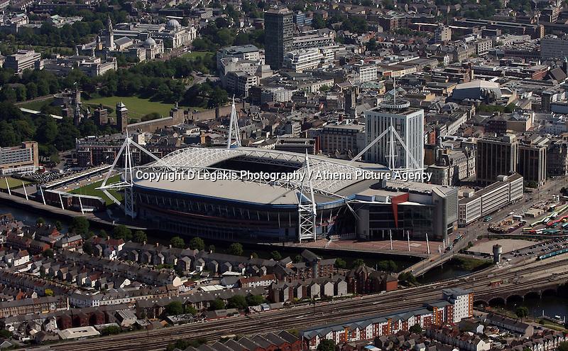 Aerial view of Millennium Stadium in Cardiff