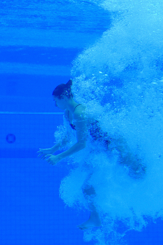Canada's Pamela Ware underwater during the practice session<br /> <br /> Photographer Hannah Fountain/CameraSport<br /> <br /> FINA/CNSG Diving World Series 2019 - Day 3 - Sunday 19th May 2019 - London Aquatics Centre - Queen Elizabeth Olympic Park - London<br /> <br /> World Copyright © 2019 CameraSport. All rights reserved. 43 Linden Ave. Countesthorpe. Leicester. England. LE8 5PG - Tel: +44 (0) 116 277 4147 - admin@camerasport.com - www.camerasport.com