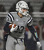 Derek Cruz #23 of Oceanside rushes for a gain during the Nassau County Conference I varsity football final against Freeport at Hofstra University on Saturday, Nov. 18, 2017. Oceanside won by a score of 17-0.