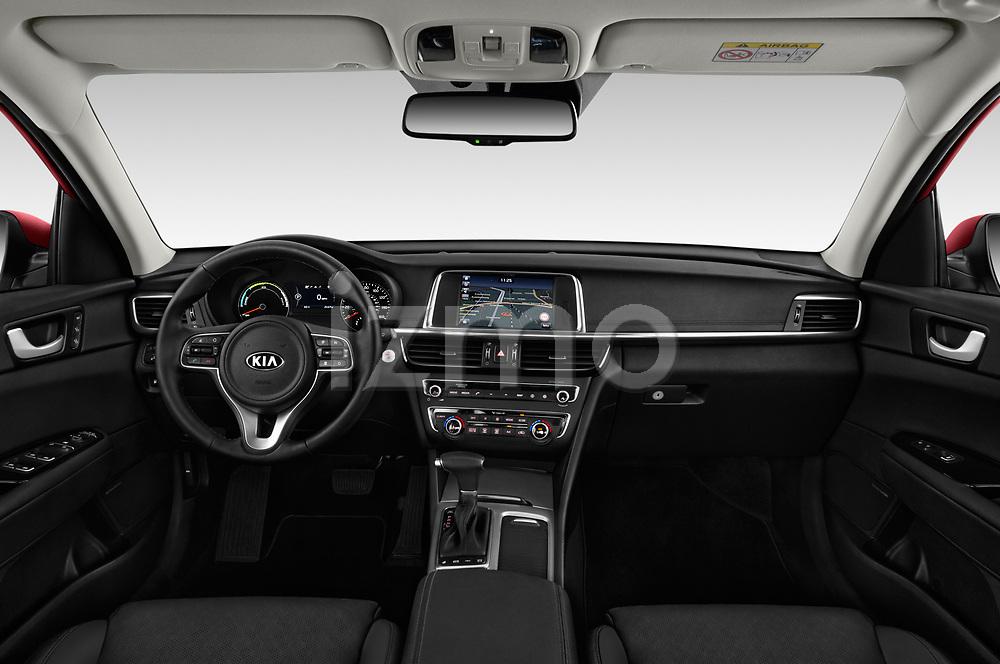 Stock photo of straight dashboard view of a 2017 KIA Optima Plug-In Hybrid 4 Door Sedan