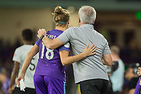 Orlando, FL - Saturday August 12, 2017: Maddy Evans, Tom Sermanni during a regular season National Women's Soccer League (NWSL) match between the Orlando Pride and Sky Blue FC at Orlando City Stadium.