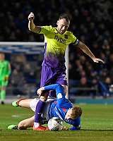 Jake Taylor of Exeter City tackles Ross McCrorie of Portsmouth during Portsmouth vs Exeter City, Leasing.com Trophy Football at Fratton Park on 18th February 2020