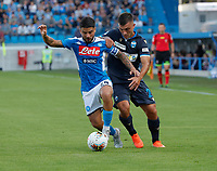 27th October 2019; Stadio Paolo Mazza, Ferrara, Emilia Romagna, Italy; Serie A Football, SPAL versus Napoli; Lorenzo Insigne of Napoli holds off Francesco Vicari of Spal  - Editorial Use