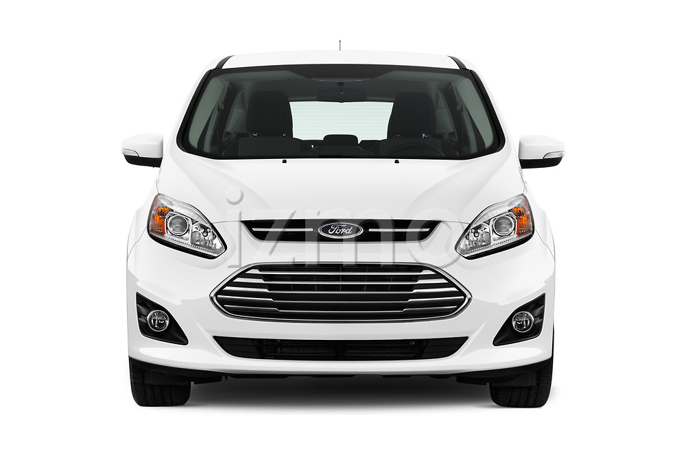 Car photography straight front view of a 2018 Ford C-Max Hybrid Titanium 5 Door Mini Van