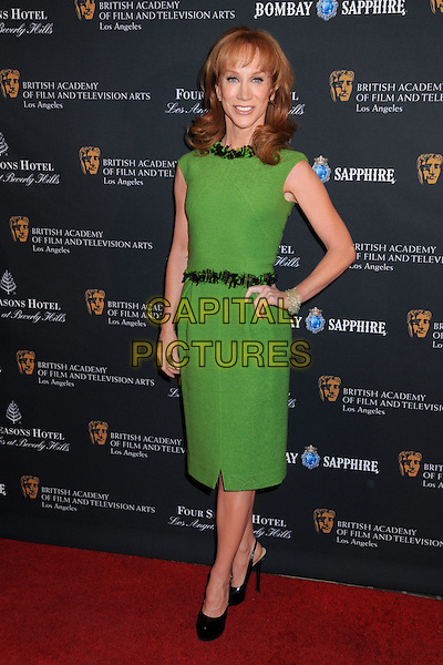 KATHY GRIFFIN .17th Annual BAFTA Los Angeles Awards Season Tea Party held at the Four Seasons Hotel, Beverly Hills, California, USA, 15th January 2011..full length green dress hand on hip belt shoes black platform sleeveless .CAP/ADM/BP.©Byron Purvis/AdMedia/Capital Pictures.