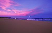 Moonrise at the beach on Wailua bay, island of Kauai