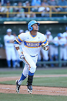 Kevin Williams #5 of the UCLA Bruins runs to first base during a game against the Stanford Cardinal at Jackie Robinson Stadium on May 2, 2014 in Los Angeles, California. UCLA defeated Stanford, 7-2. (Larry Goren/Four Seam Images)