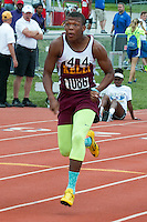 Kelly junior Maurice Davis runs to a victory in the Class 2 100-meter dash preliminaries in 10.97 seconds.