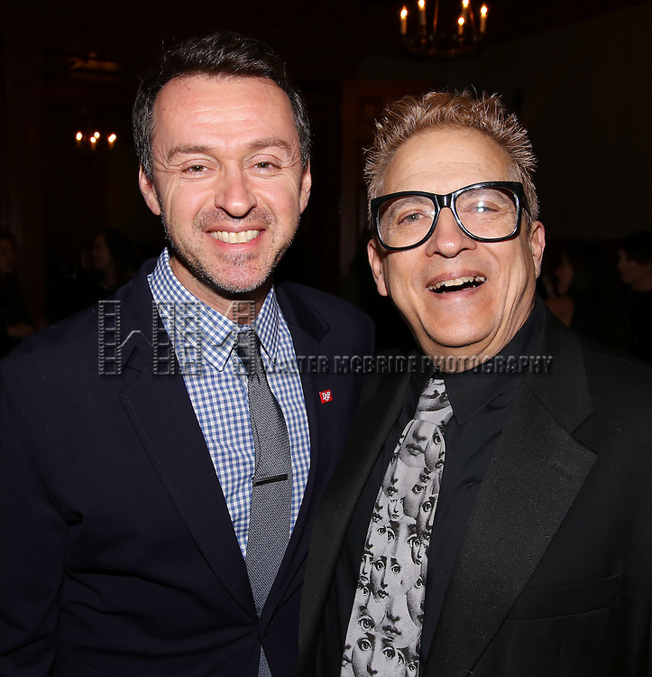 Andrew Lippa and Ken Fallin during the Dramatists Guild Fund intimate salon with Benj Pasek and Justin Paul at the home of Kara Unterberg on March 7, 2016 in New York City.