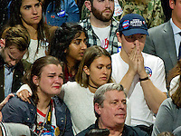 Hillary Clinton supporters are tearful as North Carolina is called for Donald Trump at the Clinton Election Night Event at the Jacob K. Javits Convention Center in New York, New York on Tuesday, November 8, 2016.<br />