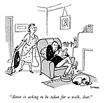 """""""Rover is asking to be taken for a walk, dear."""""""
