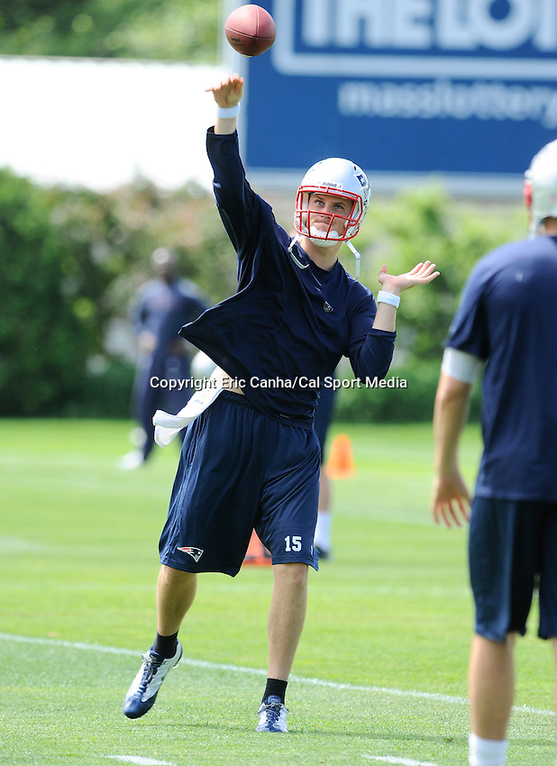 MAY 24 2012 New England Patriots quarterback Ryan Mallett #15 takes part in throwing drills at the Patriots OTA's Thursday at the team's practice field outside Gillette Stadium...