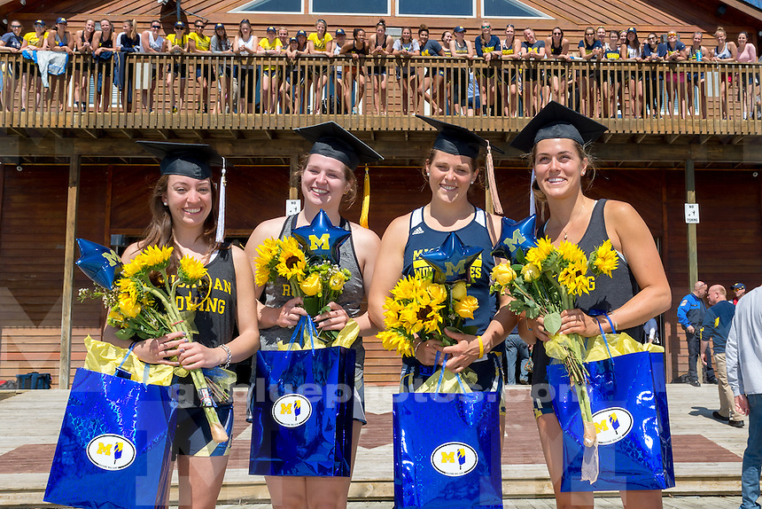 The University of Michigan rowing team First Varsity Eight Finish: 1st (6:24.10); over Louisville on Belleville Lake in Van Buren Township, Mich on May 02, 2015.