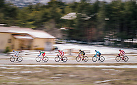 breakaway group speeding along<br /> <br /> 76th Paris-Nice 2018<br /> stage 6: Sisteron > Vence (198km)