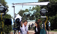 Media surrounded Emancipation Park one day after the Unite the Right rally Sun., August 13, 2017 A woman was killed and several others injured after the Unite the Right rally. Photo/Andrew Shurtleff