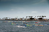 USA, California, San Diego, teams row against one another in Vacation Isle, Mission Bay Park