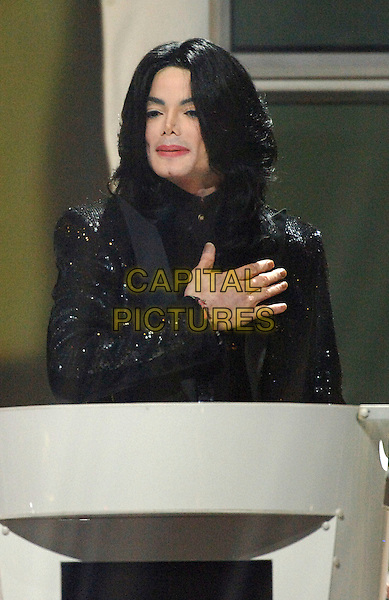 MICHAEL JACKSON.winner of the Diamond Award.World Music Awards 2006.Earls Court, London England..November 15th, 2006.half length hand on heart chest black jacket.CAP/BEL.©Tom Belcher/Capital Pictures.