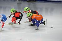 SCHAATSEN: DORDRECHT: Sportboulevard, Korean Air ISU World Cup Finale, 12-02-2012, Valerie Maltais CAN (105), Kexin Fan CHN (109), Annita van Doorn NED (145), ©foto: Martin de Jong
