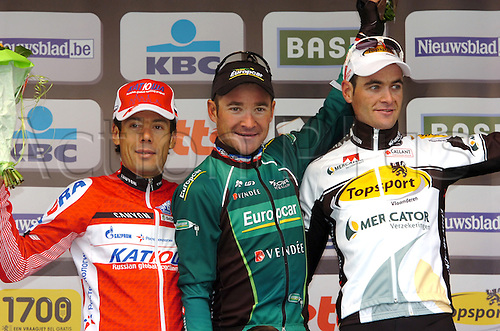 11.04.2012 Flemish Brabant, Belgium. Flanders Classics Brabantse Pijl. Thomas Voeckler (Europcar) wins the Brabantse Pijl after a solo breakaway in the Flemish Brabant region of Belgium. On the podium with Oscar Freire Gomez and Pieter Serry.