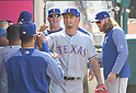 Yu Darvish (Rangers),<br /> APRIL 13, 2017 - MLB :<br /> Texas Rangers starting pitcher Yu Darvish fist-bumps teammates in the dugout after the bottom of the seventh inning during the Major League Baseball game against the Los Angeles Angels of Anaheim at Angel Stadium of Anaheim in Anaheim, California, United States. (Photo by AFLO)
