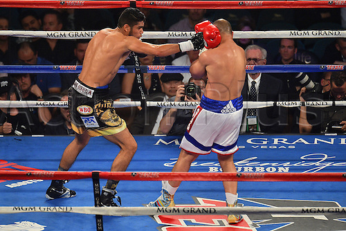 09.04.2016. Las Vegas, Nevada, USA. Gilberto Ramirez (L) (Mex) throws a punch during the Abraham versus Ramirez WBO Super Middleweight World Championship fight in the MGM Grand Garden Arena at the MGM Grand Hotel and Casino in Las Vegas, Nevada. Gilberto Ramirez defeated Arthur Abraham by unanimous decision.
