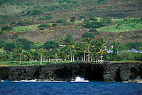 Keauhou, Big Island, from offshore. Resort and golf course below Kailua-Kona.