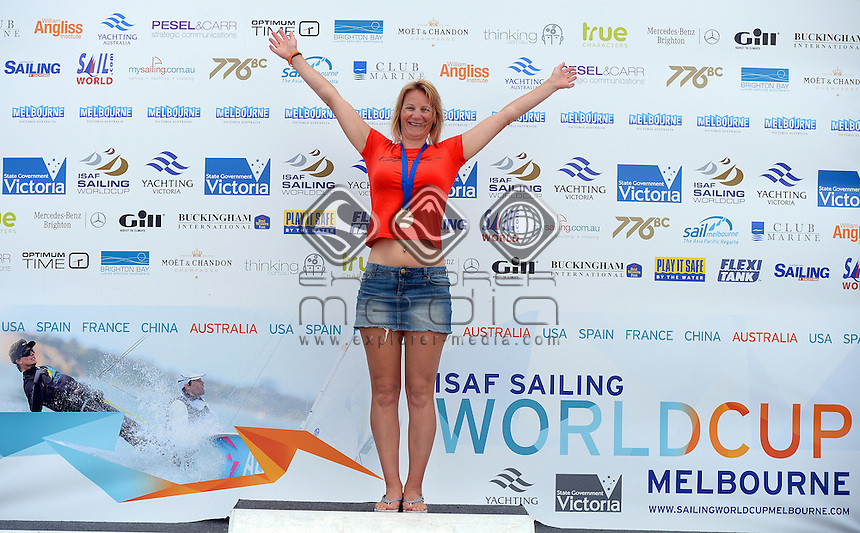 Kiteboard - W /  3rd Natalie CLARKE (AUS)<br /> 2013 ISAF Sailing World Cup - Melbourne<br /> Sail Melbourne - The Asia Pacific Regatta<br /> Sandringham Yacht Club, Victoria<br /> December 1st - 8th 2013<br /> &copy; Sport the library / Jeff Crow