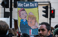 Image ©Licensed to i-Images Picture Agency. 21/01/2017. London, United Kingdom. Woman's March on London. Demonstrators take part in a Woman's March on London, one a number of woman-led marches taking place around the world, on the first day of Donald Trump's Presidency,UK. Picture by Mark Thomas / i-Images