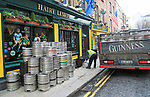Delivery of Guinness beer barrels to traditional Hairy Lemon pub, city of Dublin, Ireland, Irish Republic