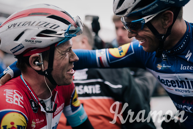 'Ardennes specialist' Bob JUNGELS (LUX/Deceuninck-Quick Step) surprisingly wins the 71th Kuurne-Brussel-Kuurne 2019 and is congratulated by teammate & Omloop Het Nieuwsblad 2019 winner (the previous day) Zdeněk ŠTYBAR (CZE/Deceuninck-Quick Step) behind the finish line<br />  <br /> Kuurne to Kuurne (BEL): 201km<br /> <br /> ©kramon