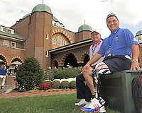 26 SEP 12  Major Ed Pulido, of the Folds of Honor Military Charity with Big Al in front of the clubhouse during Thursdays practice round at The 39th Ryder Cup at The Medinah Country Club in Medinah, Illinois.