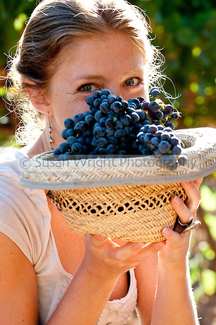 Ginevra Notarbartolo, grand-daughter of noted wine producer, Count Paolo Marzotto, at the family's Sicilian vineyard, Baglio di Pianetto, Italy