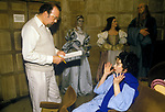 Sir Peter Hall directing his wife the opera singer Maria Erwing. Glyndebourne 1984 East Sussex England.