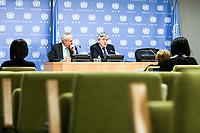 NEW YORK, EUA, 19.04.2017 - GORDON-BROWN - O ex primeiro ministro britânico Gordon Brown atualmente Enviado Especial das Nações Unidas para a Educação Global, atende jornalistas para informar sobre os esforços para proporcionar a todos os refugiados e crianças deslocadas uma educação através de um novo modelo de financiamento da educação na sede das Nações Unidas em New York nesta quarta-feira, 19 . James Gordon Brown foi o primeiro-ministro do Reino Unido e líder do Partido Trabalhista entre 2007 e 2010, quando renunciou aos cargos. (Foto: William Volcov/Brazil Photo Press)